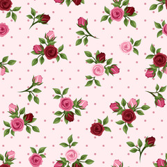 Vintage seamless pattern with red and pink roses. Vector.