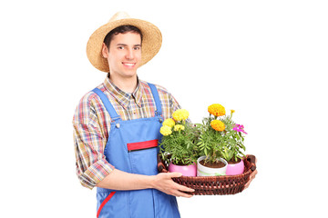 Male florist holding a basket with plants