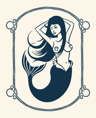 winking mermaid vintage illustration over white background
