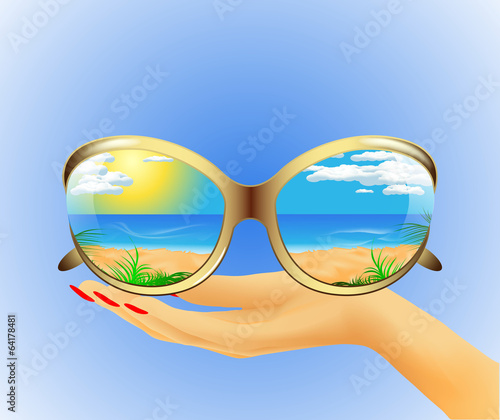 sunglasses with reflection of the summer