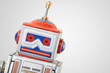 Leinwanddruck Bild - Robot vintage toy close up, clipping path