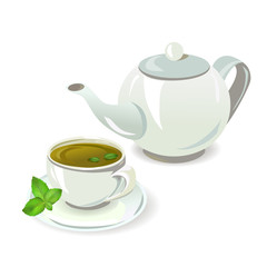 teapot and cup with tea
