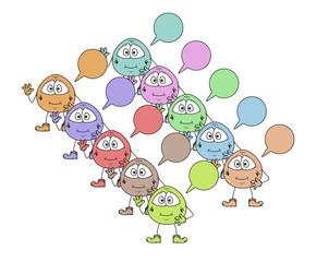color cute creatures with speak bubble