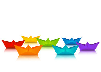 Rainbow paper boats for Your design