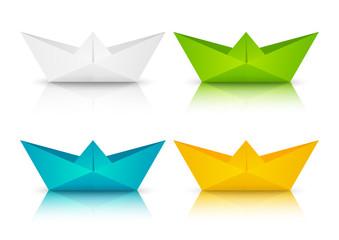 Set of color paper boats