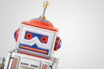 Robot vintage toy close up, clipping path