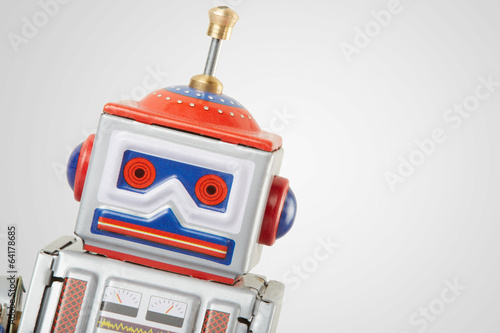 Leinwanddruck Bild Robot vintage toy close up, clipping path