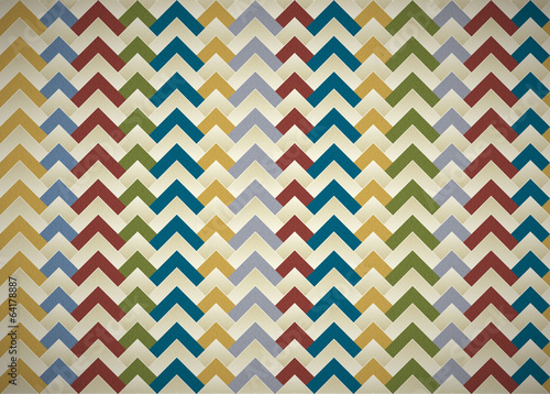 Vintage Seamless Pattern, colorful zigzag with paper texture