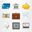Icons bank. Set of vector badges. Finance and business.