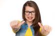 Leinwanddruck Bild - Girl in braces showing thumbs up isolated