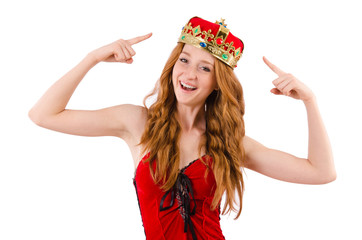 Redhead girl with crown n funny concept  isolated on white