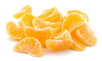 Peeled tangerine segments isolated on white background