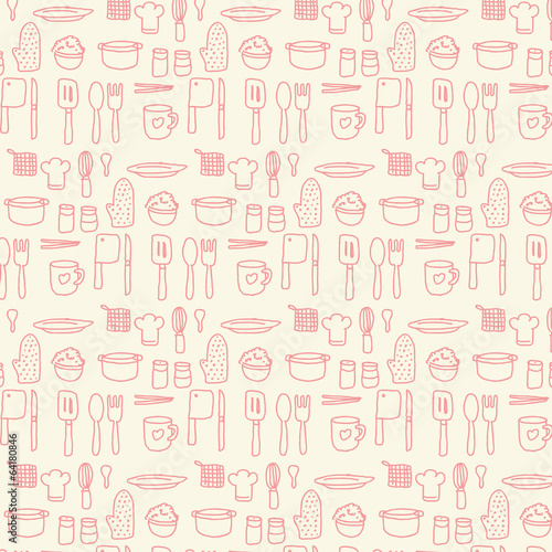 Doodle kitchen seamless pastel background
