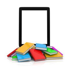 Tablet Pc on top of an Heap of Books