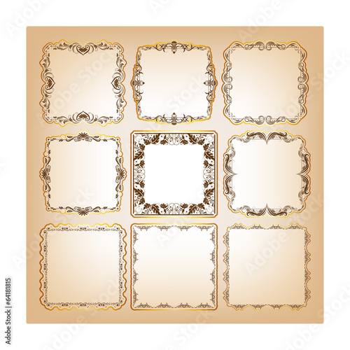 Set of square frames for greeting cards