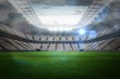 canvas print picture - Large football stadium with lights