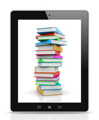Tablet Pc Showing a Pile of Books
