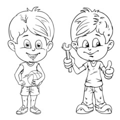 Kids with ball and tools. Drawing style black on white.