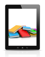 Tablet Pc Showing an Heap of Books