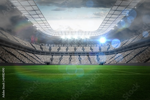 Large football stadium with lights Poster