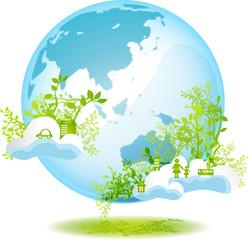 緑と地球と街と人