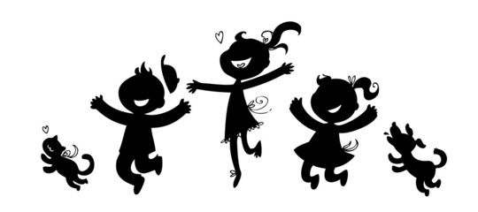 Black silhouettes of boy, two girls, cat and dog