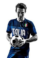 italian soccer players man silhouettes portraits