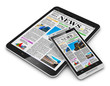 Leinwandbild Motiv Tablet PC and smartphone with business news