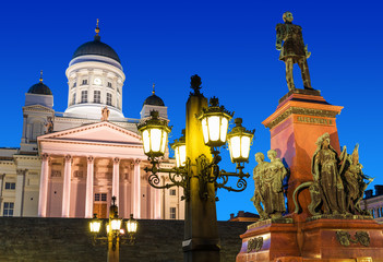 Senate Square at night in Helsinki, Finland