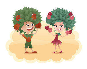 Cartoon boy and girl with a leaves on their heads holding fruits