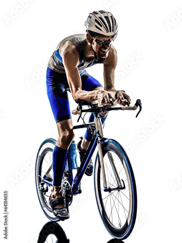 Fotobehang Wielersport man triathlon iron man athlete cyclists bicycling