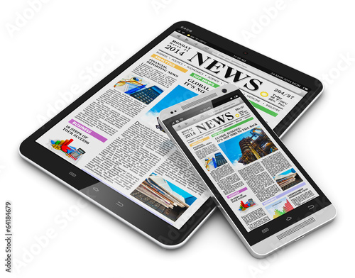 Tablet PC and smartphone with business news - 64184679