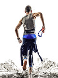 man triathlon iron man athlete swimmers running
