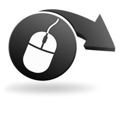 souris ordinateur sur symbole noir