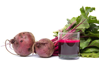 Fresh juice of red beets on white