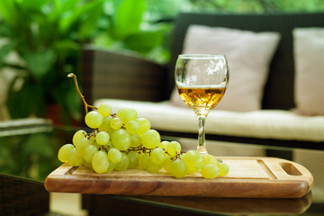 Wine glass and white grape