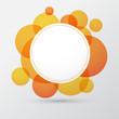 White paper label over orange bubbles.