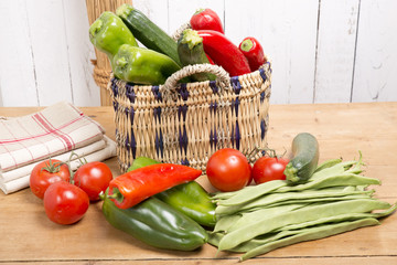 peppers, tomatoes and peppers in a nice basket