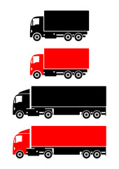 Truck icons on white background