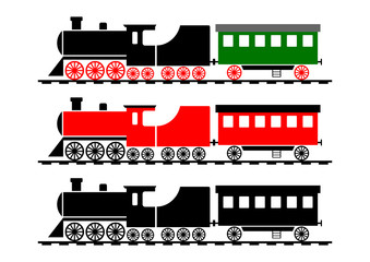 Train icons on white background