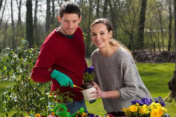 Gardener couple at work