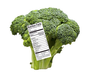 Broccoli Spear with Nutrition Label