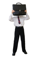 Businessman with a briefcase instead of a head