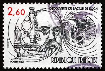 Postage stamp France 1982 TB Bacillus Discovered by Robert Koch