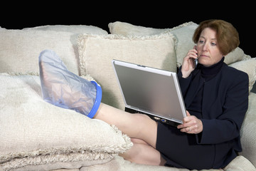 Business Woman with Foot Injury