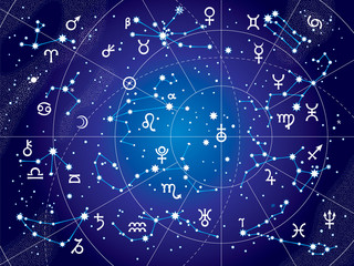 XII Constellations of Zodiac (Ultraviolet Blueprint Map)