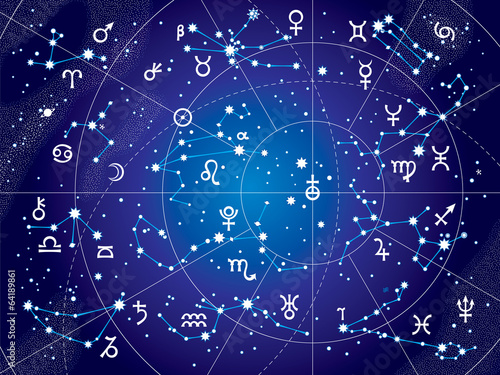 XII Constellations of Zodiac and Its Planets the Sovereigns. Astrological Celestial Chart. (Ultraviolet Blueprint version). - 64189861