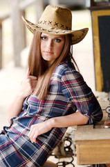 Girl with western hat