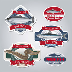 Fish labels set 2. Vector illustration.