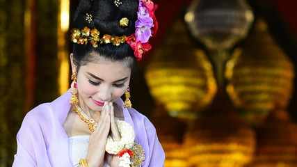 Thai Woman Salute Of Respect In Traditional Costume Of Thailand